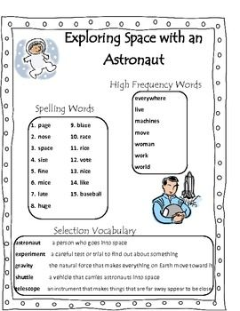 Exploring Space With An Astronaut Scott Foresman Unit 1 Week 2 Second Grade Word Lists Spelling Act Spelling Activities Vocabulary Activities Scott Foresman
