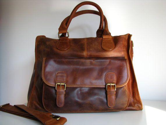 Leather Handbag Laptop Pocket Bag Vintage Look Brown