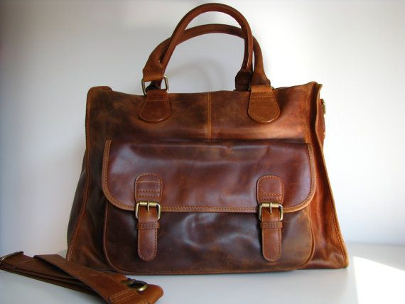 Leather Handbag Laptop Pocket Bag Vintage Look Brown