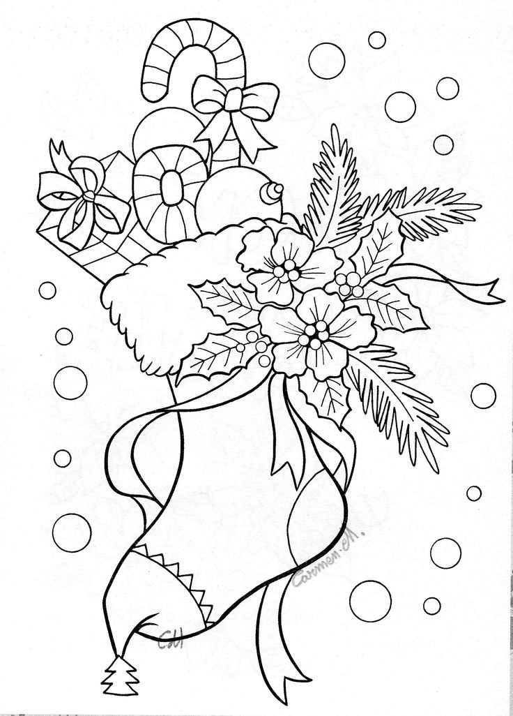 Stocking Coloring Pages Pinterest Coloration