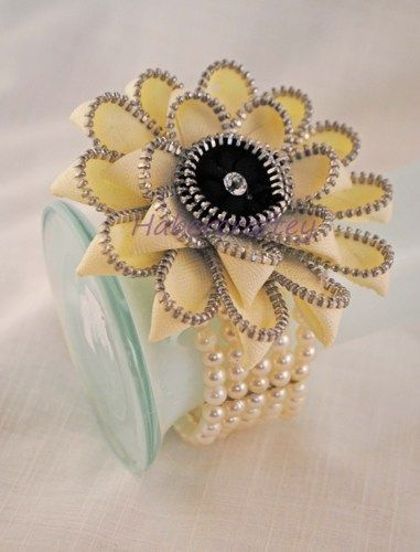 Zipper Gerbera wrist corsage / bracelet   habercraftey - Jewelry on ArtFire