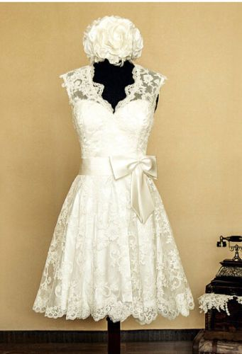 2015 White/Ivory Vintage Lace Wedding Dresses Tea Length Bridal Gown Custom Made in Wedding Dresses | eBay