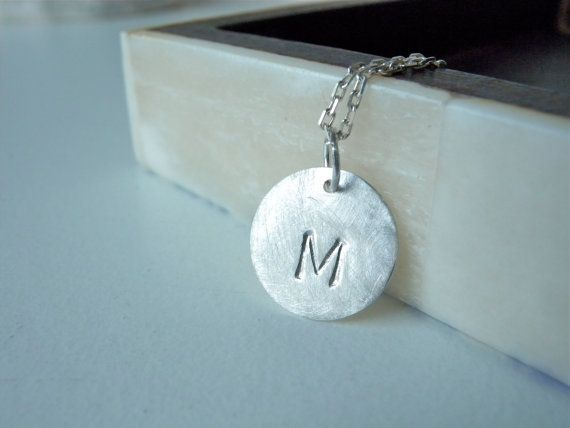 Initial M silver disc necklace. Personalized hand stamped silver disc necklace by MerieJewel