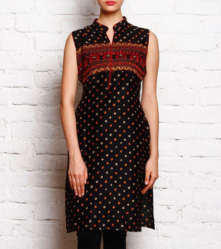 Black Printed Cotton Cambric Kurti
