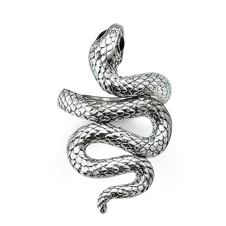 Thomas Sabo Silver Black Enamel Snake Ring TR1937-007-12 - Thomas Sabo Rings - Product Type - Thomas Sabo | The Jewel Hut