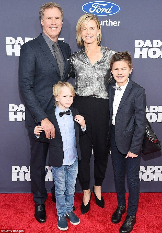 Family affair: Will Ferrell arrived with his wife Viveca Paulin and sons Mattius and Axel