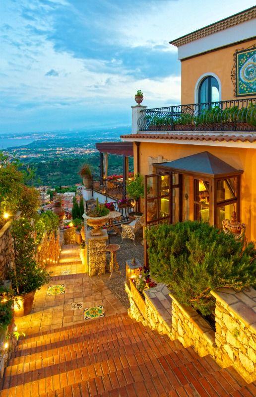 Taormina hotel Villa Ducale entrance, Taormina, Sicily, Italy
