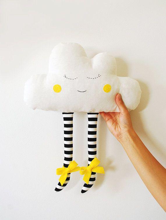 Cuscino cuscino Cloud di nube ragazza infermiera Cloud Nursery Decor felice peluche Cloud cuscino regalo piuma fascia Babyshower regalo Nursery Decor