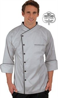 Men's Raglan 3/4 Sleeve Chef Coat - Snap Front Closure - 100% Egyptian Cotton Style # 491818 #chefuniforms #chefwear #stonegreywithblack #maximumcomfort