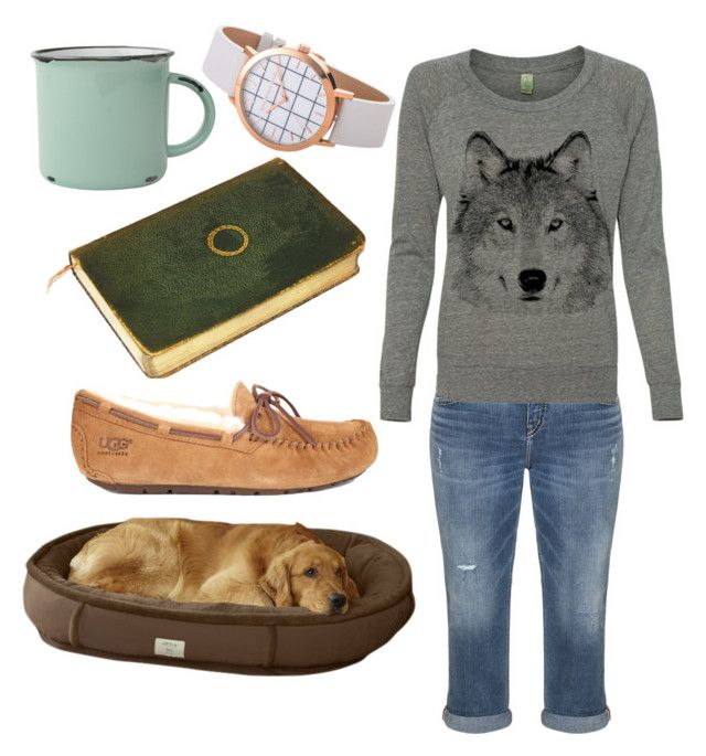"""""""relaxing at home outfit, jean capris, coffee and a good book"""" by jess-2106 on Polyvore featuring Silver Jeans Co., canvas and UGG Australia"""