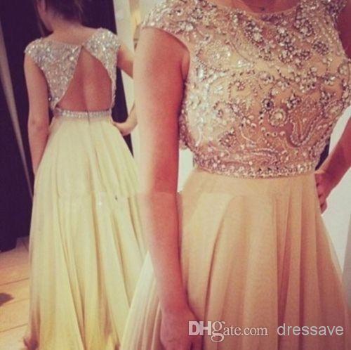 vestidos de fiesta Prom Dresses Sheer Crew Neck Capped Sleeves Beaded Chiffon Crystals Floor Length Backless Glitz Evening Gowns