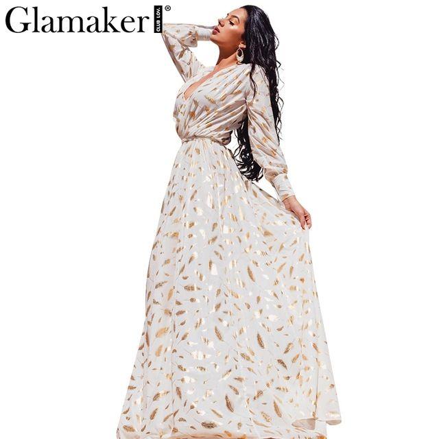 Glamaker plumas de Oro de punto de impresión de manga larga dividida bata sexy partido Otoño vestido de las mujeres maxi vestido de 2016 Elegante vestido del club vestidos