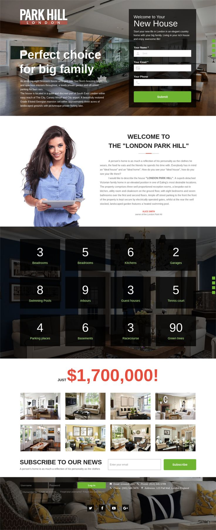 Meet, first Real Estate lead generation page from OrdaSoft team. ParkHill - Real Estate Landing Page Template would work good for someone selling multiple or single properties. A real estate agent using responsive landing page template could, for example, offer a free consultation to potential customers on this page.