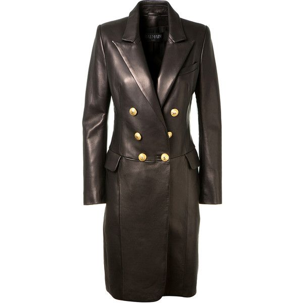 Balmain Black Leather Coat (18.120 RON) ❤ liked on Polyvore featuring outerwear, coats, leather coats, balmain, balmain coat, long leather coat and real leather coats