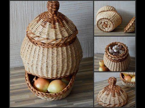 Корзина для лука и чеснока - Уроки по плетению