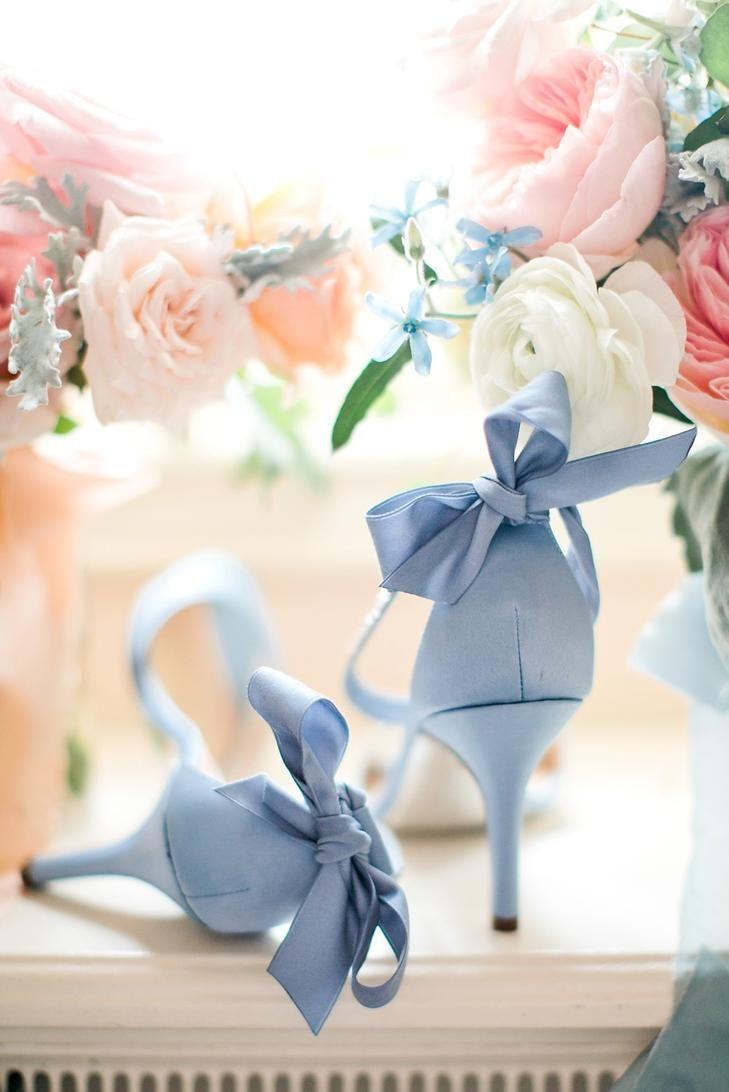 Blue Peep-Toe Heels