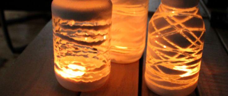 Creatief met glazen flessen en potten - Nog een leuk creatief idee met glazen potjes of flesjes!