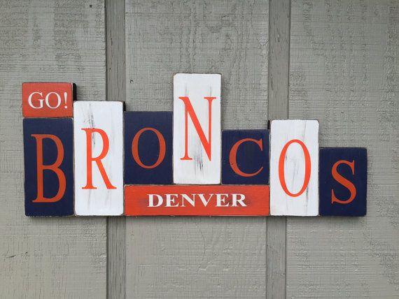 Denver Broncos Handmade Rustic Wood Block Sports by YouSayItGifts | I think I could do something similar myself.