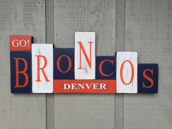 Denver Broncos Handmade Rustic Wood Block Sports by YouSayItGifts | I think I could do something similar myself.