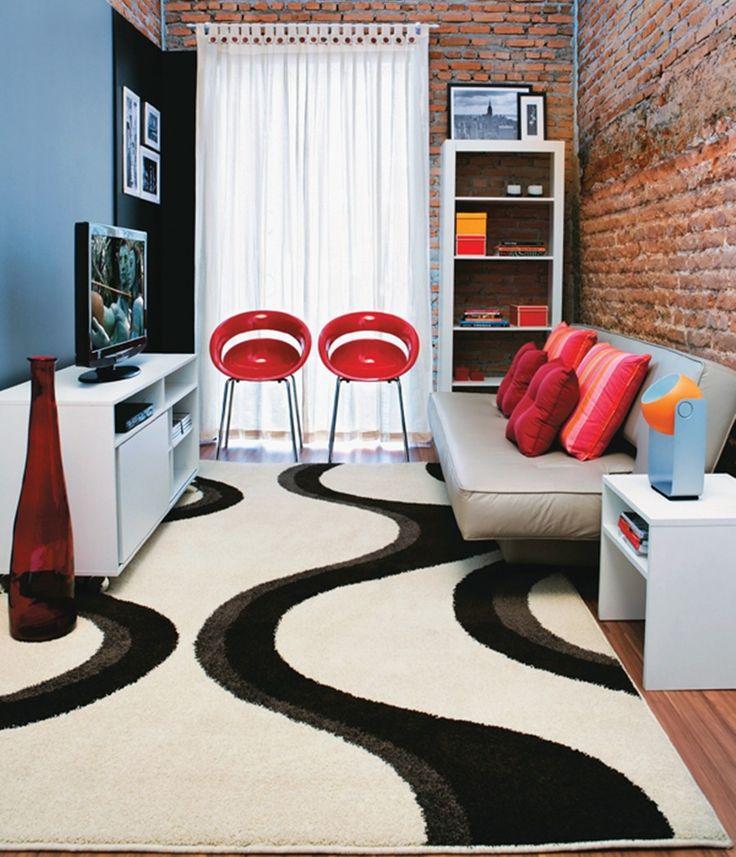 Sala de estar pequena com decoração no estilo rústico e moderno