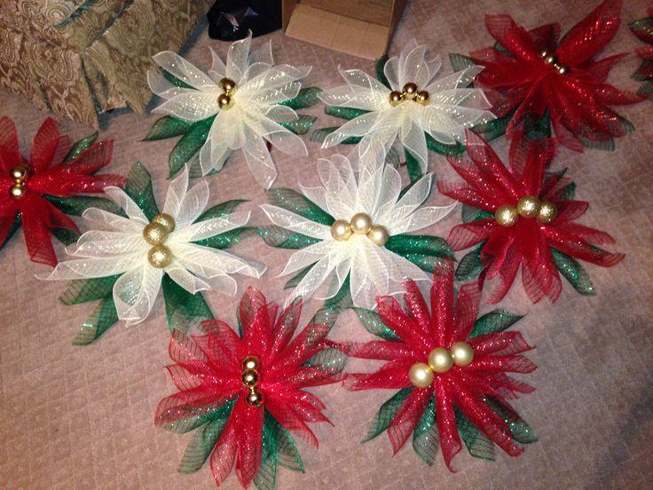 Poinsettia deco mesh table decorations Christmas