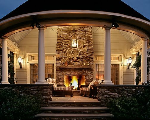 Fantastic open outdoor gazebo/patio, with outdoor fireplace