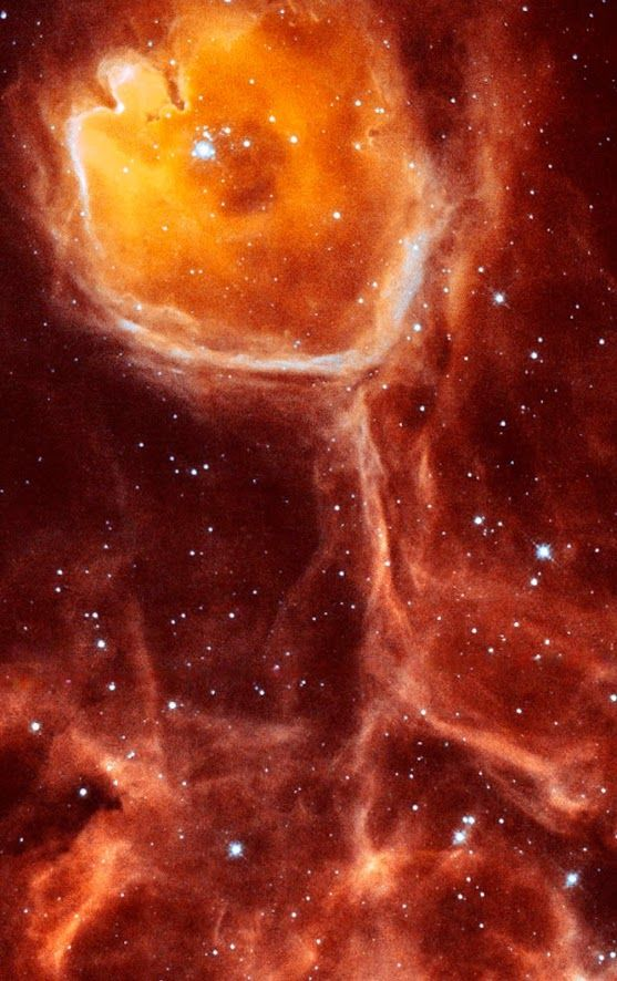 Interstellar bubble #N44F | In this unusual image, Hubble Space Telescope captures a rare view of the celestial equivalent of a geode — a gas cavity carved by the stellar wind and intense ultraviolet radiation from a hot young star.