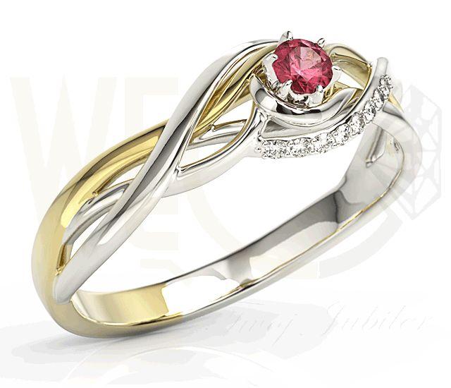 Pierścionek z białego i żółtego złota z rubinem oraz brylantami. /1319 PLN/  White and yellow gold ring with ruby and diamonds.
