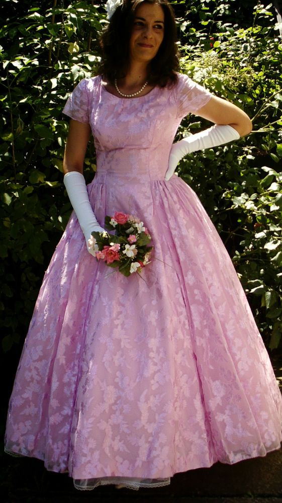 Vintage Original 50s Helen Hunter Lilac Pink Organza Wedding Dress 8/10 Superb! in Clothes, Shoes & Accessories, Wedding & Formal Occasion, Wedding Dresses | eBay
