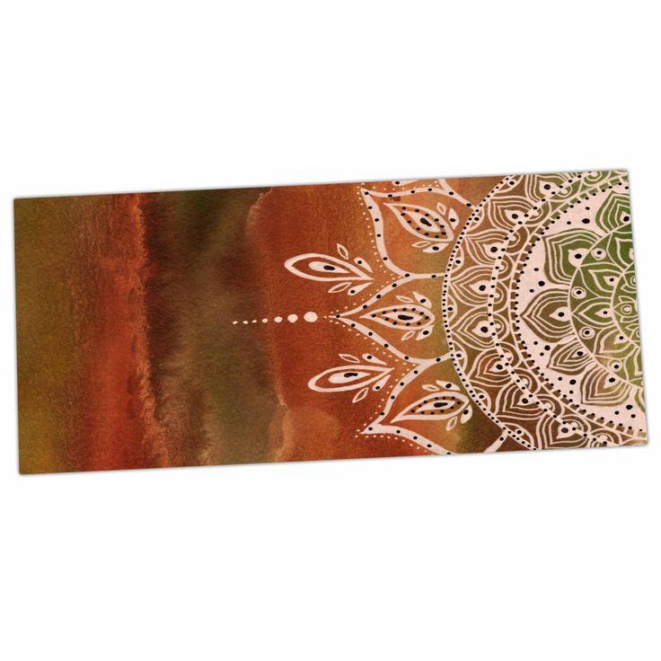 """Li Zamperini """"Autumn Mandala"""" Orange Brown Desk Mat"""
