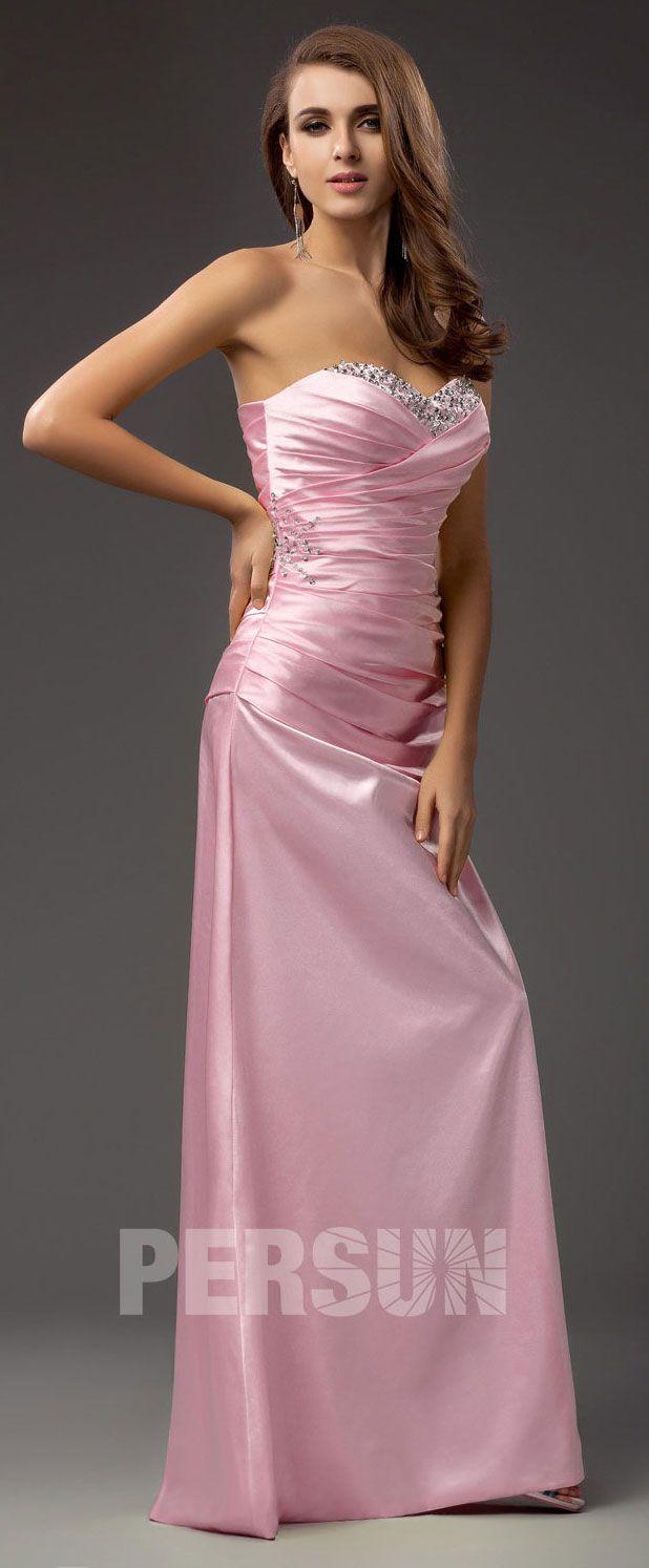 794948e1845ed robe rose de soirée pour mariage longue bustier coeur onré de strass ...