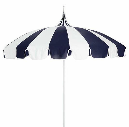 California Umbrella Pagoda Patio Umbrella - Navy/White