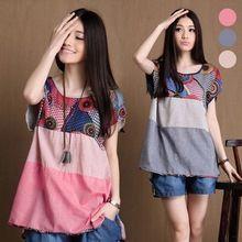 Mulheres camisa de manga curta Floarl impressão Irregular verão Blusas(China (Mainland))