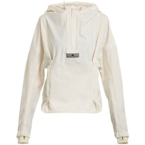 Adidas By Stella McCartney Waterproof pull-over jacket (760 BRL) ❤ liked on Polyvore featuring activewear, activewear jackets, adidas, adidas sportswear and adidas activewear