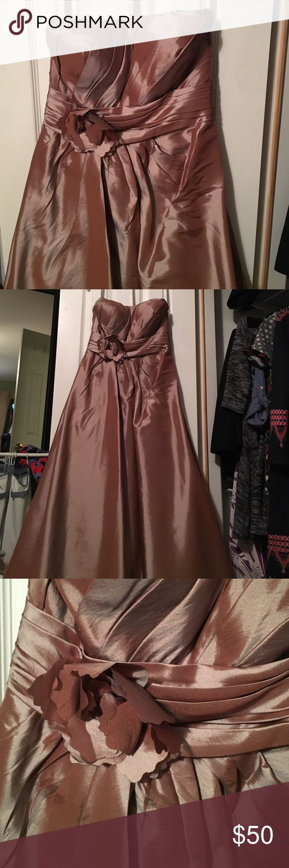 """Bill Levkoff bridesmaid /prom dress Beautiful bridesmaid/prom dress worn once. Metallic tan champagne color. Size """"12"""" but bridal sizing so fits 6/8. Hemmed to fit petite (5'2"""" but worn with 3-4"""" heels). Make an offer! Bill Levkoff Dresses Prom"""