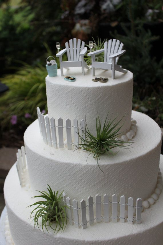 Beach Theme Wedding Cake Topper Classic Adirondack Chairs & Flip Flops - Basic Set - by Landscapes In Miniature