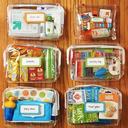 """Summer """"to go"""" bags....organize a bag each for travel games, first aid/sunblock/skin care, snacks, kids quiet time activities etc"""