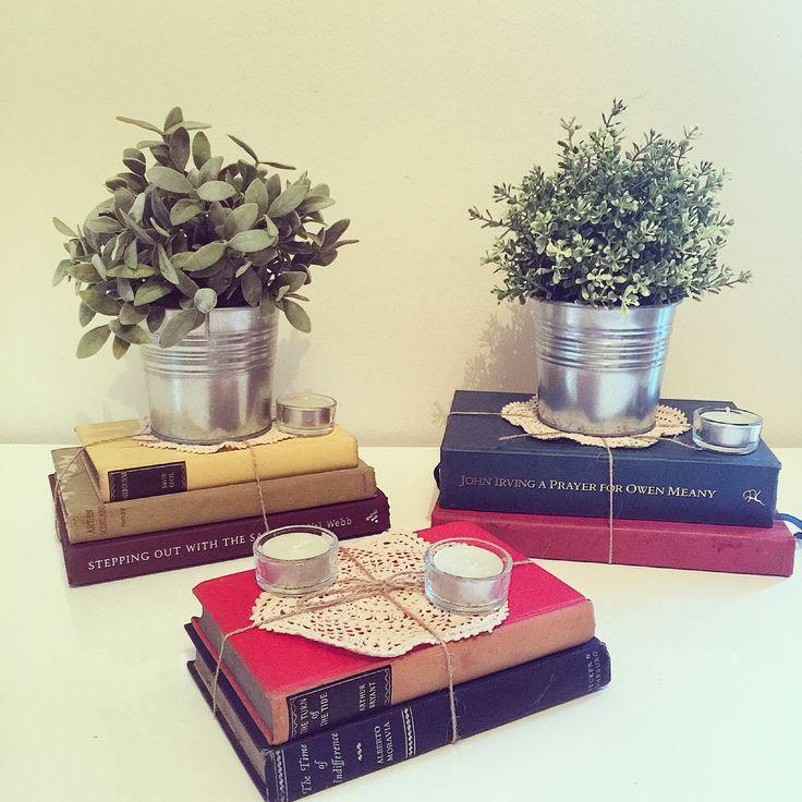 Our range of vintage books make excellent and unique centre pieces.