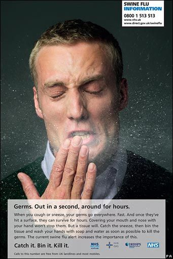 "Swine flu campaign from the UK, 2009. Man sneezing into hand, large block of text in small font describing swine flu on bottom half. Small box on upper right with phone number for swine flu information. Caption via link: ""Rush job, generic cold and flu message with a swine flu badge."""