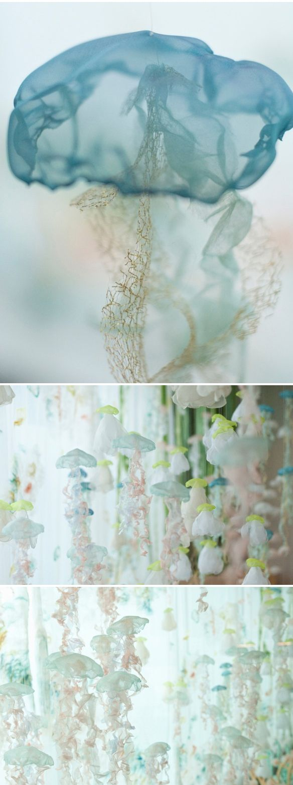 "Japanese born, Iowa based artist Sayuri Sasaki Hemann. These gorgeous fabric jellyfish, and felted anemones {is that what those are called?} were part of a huge installation at the Portland airport in 2012, titled ""Underwater Flight"". It really did look like a huge, magical aquarium… so peaceful, so delicate, amazing."