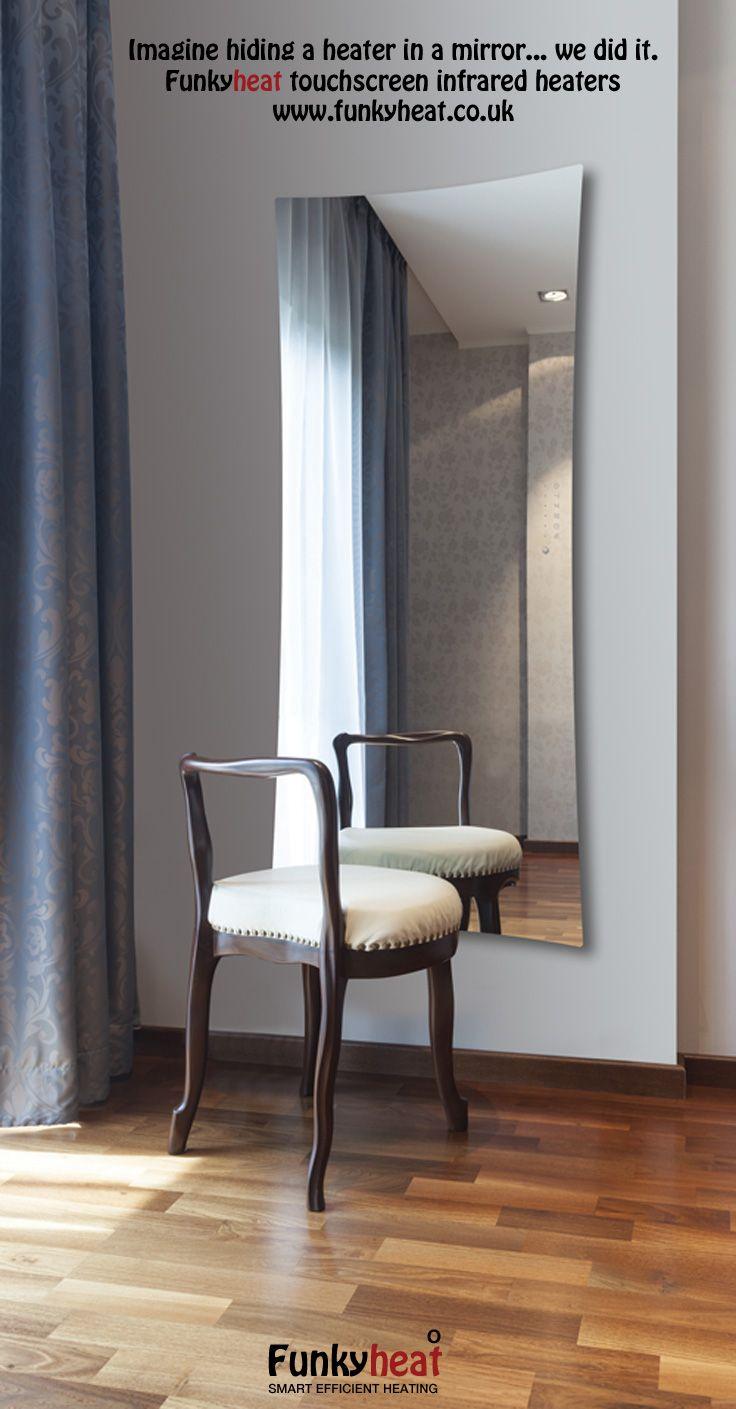 Funkyheat Mirror - Heated Infared Mirror - looks stylish and keeps your house warm!  #interiordesign