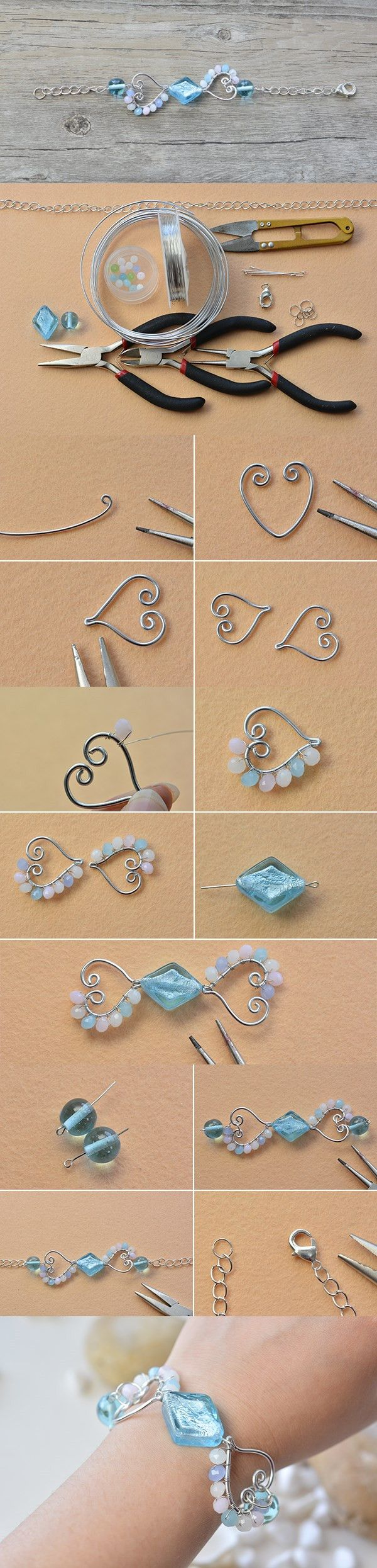 Wire Wrapping Heart Beaded Charms Bracelet DIY