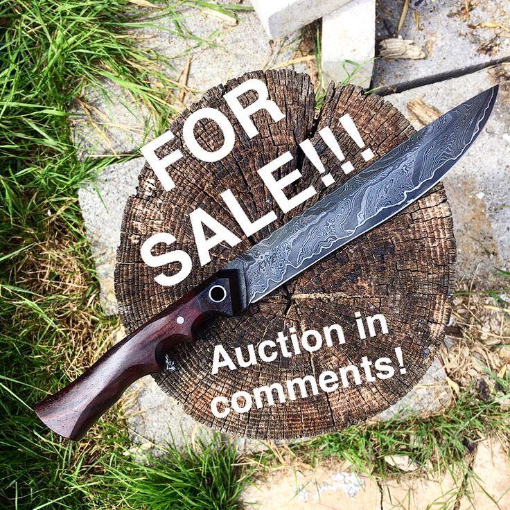 "29 Likes, 2 Comments - KWB Knives (@kwbknives) on Instagram: ""FOR SALE! custom handmade bowie/ mini machete/ show knife, Damascus San mai hand forged, handle is…"""