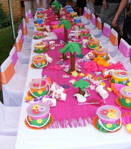 Hawaiian Party table decorations.  Paper towel roll palm trees.