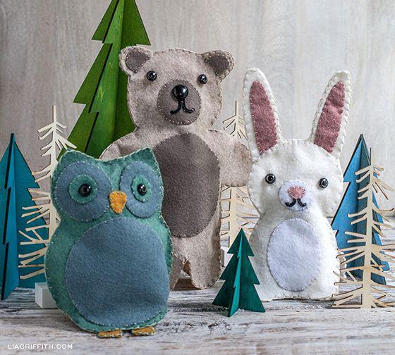 Felt Puppets Woodland Animals (Tutorial) - cute gift idea.