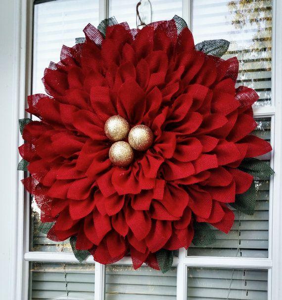 Navidad guirnalda flor de Pascua por JFPrettyLittleThings en Etsy