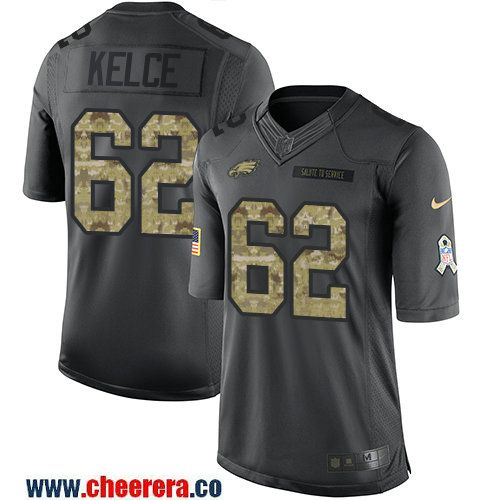 Men's Philadelphia Eagles #62 Jason Kelce Black Anthracite 2016 Salute To Service Stitched NFL Nike Limited Jersey