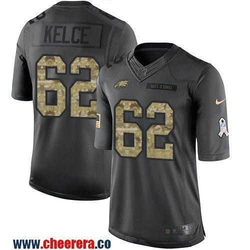 Men's Philadelphia Eagles #62 Jason Kelce Black Anthracite 2016 Salute To Service Stitched NFL Nike Limited Jersey