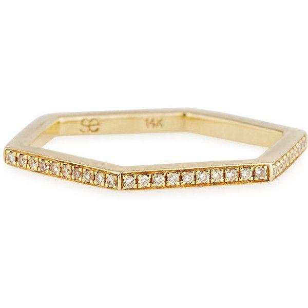 Sydney Evan Hexagon Diamond Stacking Ring, Size 6