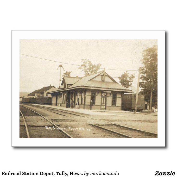 Railroad Station Depot Tully New York Vintage Postcard  new